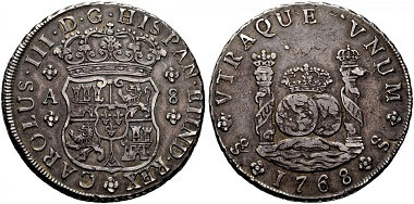 Lot 1024: Spain. Charles III. 8 reales, 1768, Santiago. From the Pillar Milled Collection. Very fine+. Estimated: 22,500 euros.