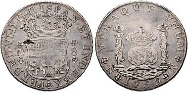 Lot 793: Spain. Nuevo Reino. Philip V and Ferdinand VI. 8 Reales, 1759. From the Pillar Milled Collection. Very fine. Estimated: 22,000 euros.
