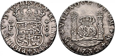 Lot 588: Philip V and Ferdinand VI. 8 reales, 1732, Mexico. Pillar Milled Collection. Extremely fine-. Estimated: 17,500 euros.