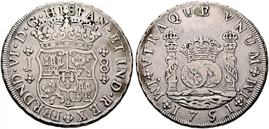 Lot 688: Philip V and Ferdinand VI. 8 reales, 1751, Lima. Pillar Milled Collection. Very fine+. Estimated: 20,000 euros.